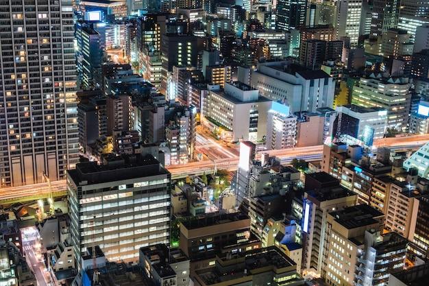 Widok z lotu ptaka dzielnicy biznesowej w centrum wieżowca w metropolii