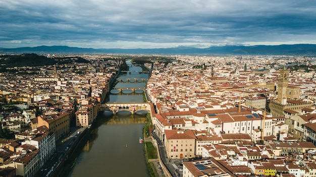 Widok z lotu ptaka florencja, włochy, europa