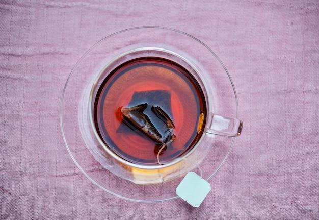 Widok z lotu ptaka gorącej herbaty