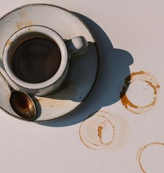 Widok z lotu ptaka gorącej kawy