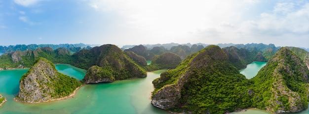 Widok z lotu ptaka ha long bay cat ba wyspa w wietnamie