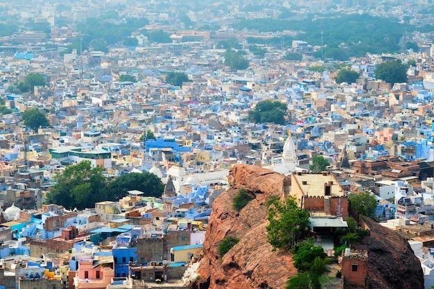 Widok z lotu ptaka jodhpur blue city jodphur radżastan w indiach