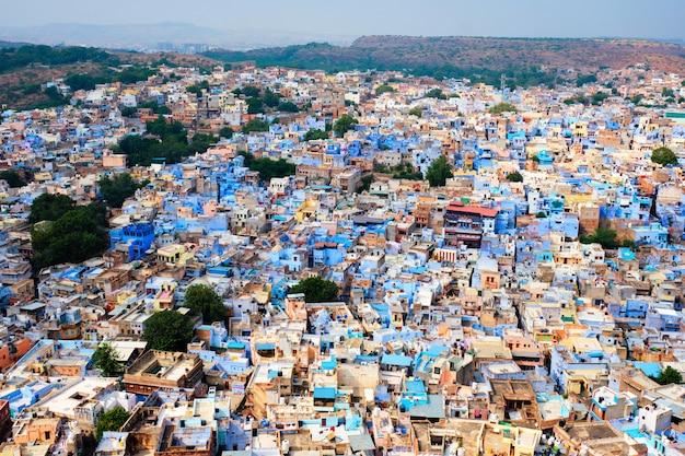 Widok z lotu ptaka jodhpur niebieskie miasto jodphur radżastan indie