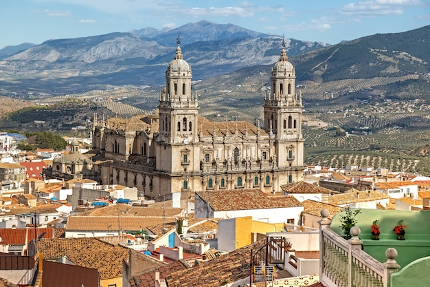 Widok z lotu ptaka katedra jaen, hiszpania