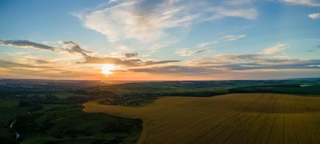 Widok z lotu ptaka krajobrazu żółtego pola uprawnego z dojrzałą pszenicą na wibrujący letni wieczór.