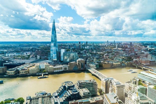 Widok z lotu ptaka londyn miasto z tamizą
