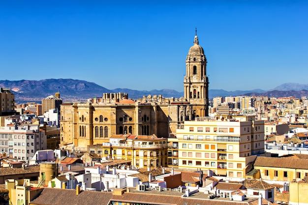 Widok z lotu ptaka malaga, andaluzja, hiszpania,