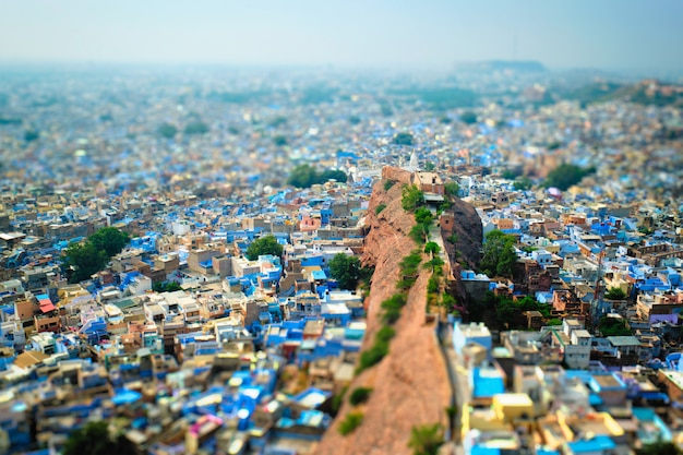Widok z lotu ptaka miasta jodhpur blue. jodphur, radżastan, indie