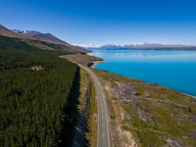 Widok z lotu ptaka mt cook krajobraz, nowa zelandia