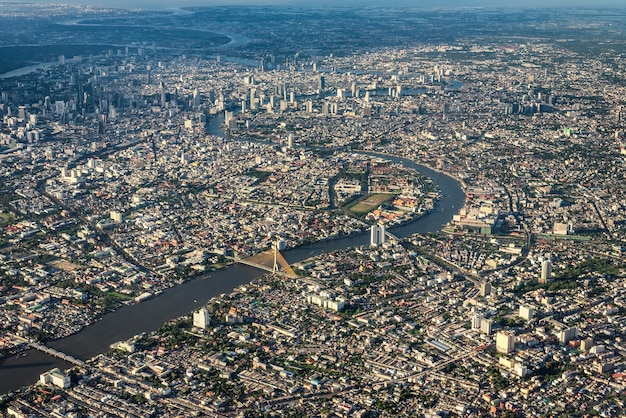 Widok z lotu ptaka na bangkok city