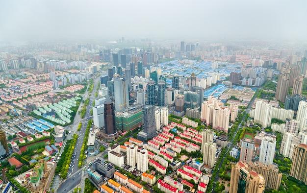 Widok z lotu ptaka na centrum szanghaju - chiny