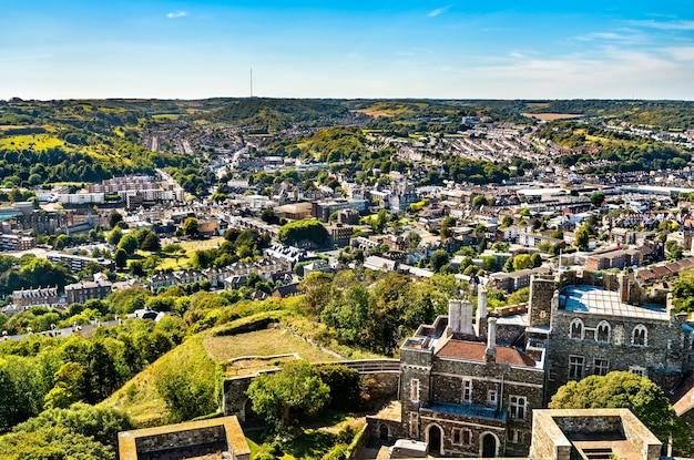 Widok z lotu ptaka na dover, miasto w hrabstwie kent, w południowo-wschodniej anglii