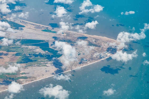 Widok z lotu ptaka na dungeness, w tym lydd i rezerwat przyrody, kent, wielka brytania