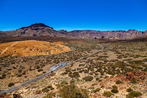 Widok z lotu ptaka na główny płaskowyż w parku narodowym teide, teneryfa, wyspy kanaryjskie, hiszpania