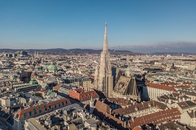 Widok z lotu ptaka na katedrę św. szczepana w wiedniu