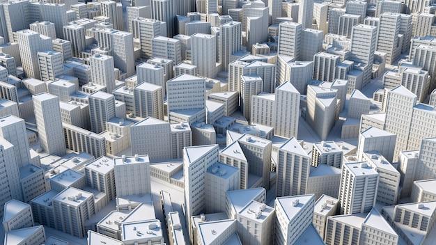 Widok z lotu ptaka na koncepcję miasta. ilustracja 3d