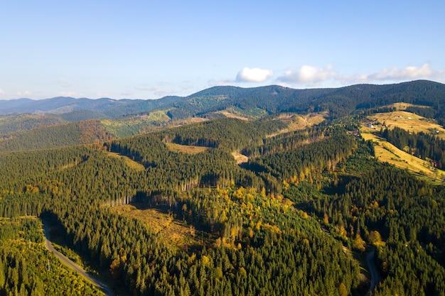 Widok z lotu ptaka na las górski z gołymi obszarami wylesiania ściętych drzew.