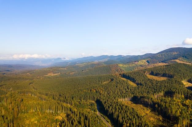 Widok z lotu ptaka na las górski z nagimi obszarami wylesiania wyciętych drzew.