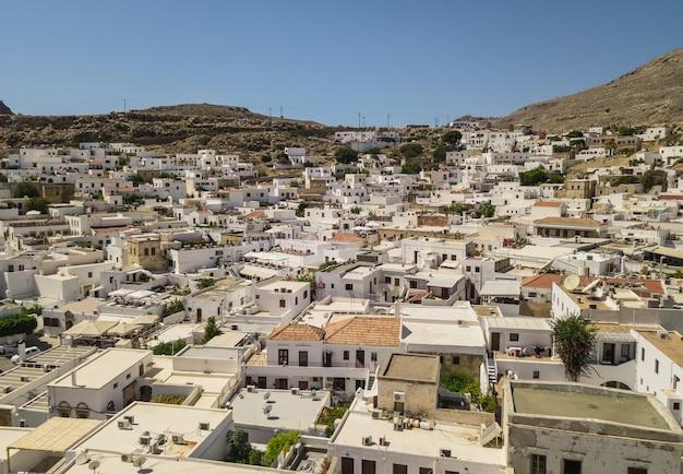 Widok z lotu ptaka na lindos, rodos, grecja