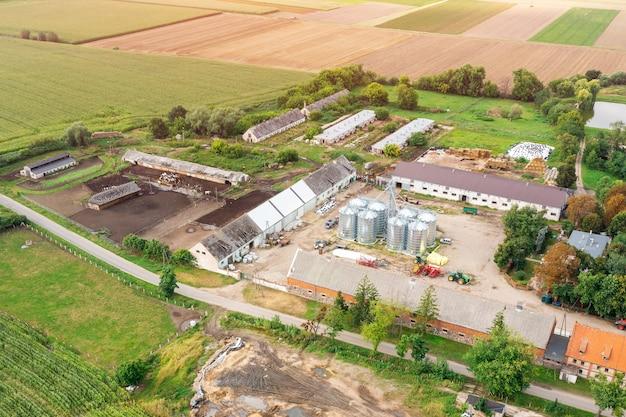 Widok z lotu ptaka na małą farmę, rolnictwo, produkty ekologiczne