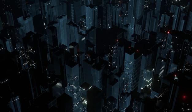 Widok z lotu ptaka na mega miasto nocą