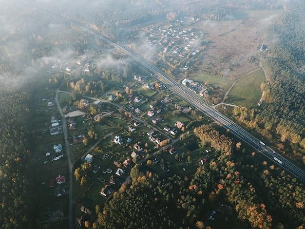 Widok z lotu ptaka na miejscowość