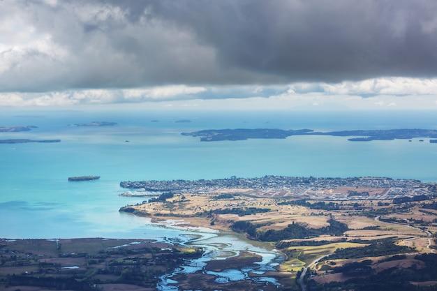 Widok z lotu ptaka na nową zelandię.
