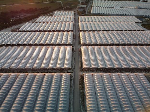 Widok z lotu ptaka na ogromne obszary szklarni do uprawy warzyw szklarniowych rolnictwa rolnictwa
