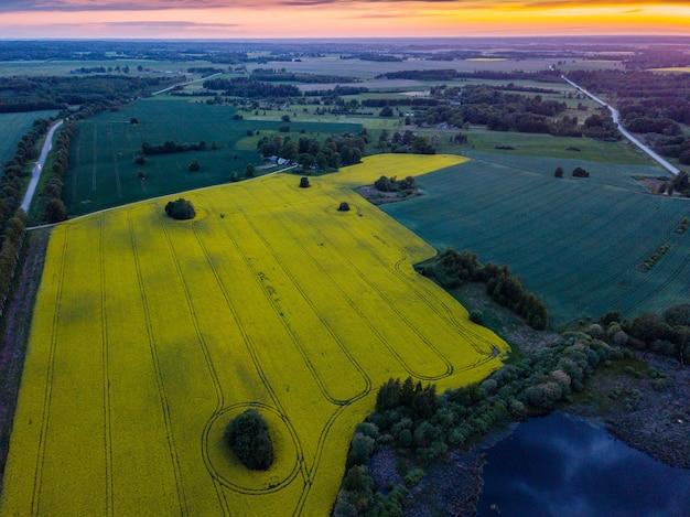 Widok z lotu ptaka na piękny zachód słońca, żółte pola rzepaku i staw