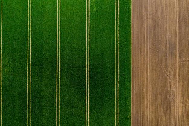 Widok z lotu ptaka na pola uprawne, pole z zieloną trawą z jednej strony i zaorane pole z drugiej, abstrakcyjne tło z teksturami