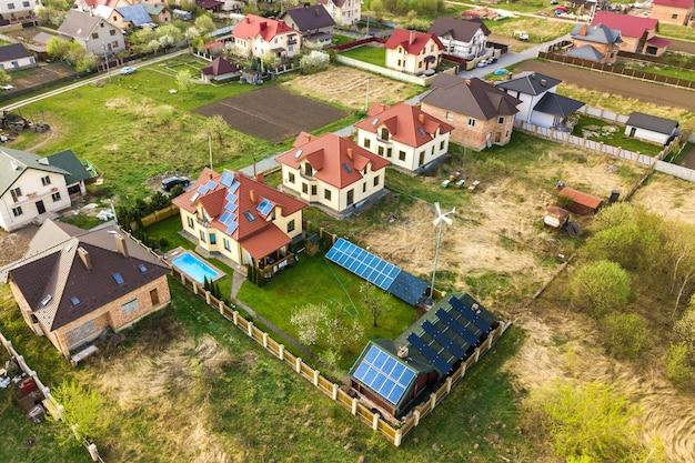 Widok z lotu ptaka na prywatny dom z ogrodem pokrytym zieloną trawą, panelami słonecznymi na dachu, basenem z błękitną wodą i generatorem turbiny wiatrowej.