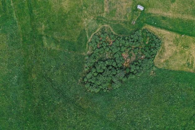 Widok z lotu ptaka na równiny i pola