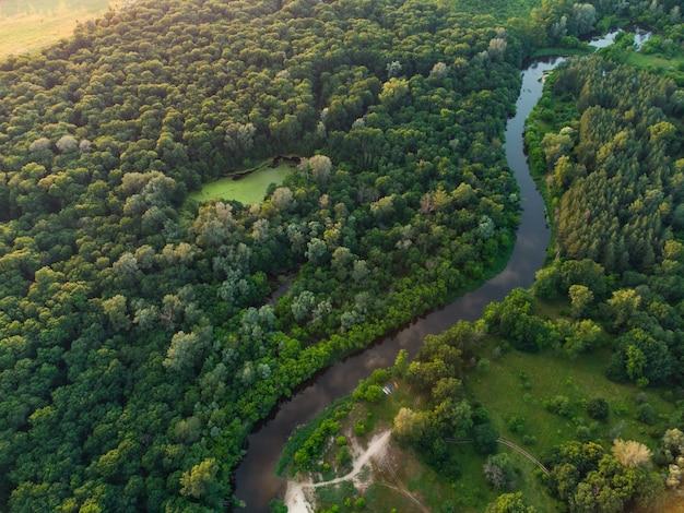 Widok z lotu ptaka na rzekę, która jest w zielonym lesie.