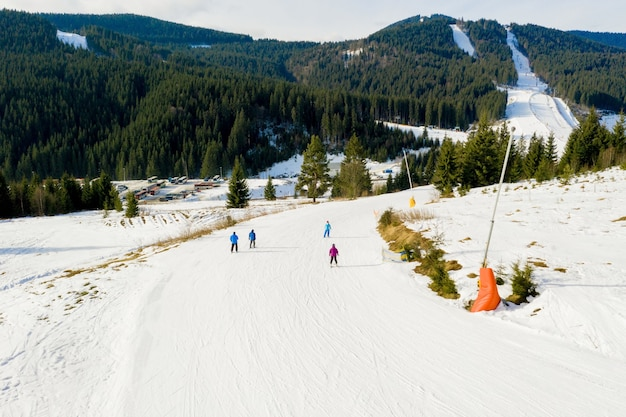 Widok z lotu ptaka na stoki narciarskie i snowboardowe przez sosny schodzące do zimowego kurortu w karpatach.
