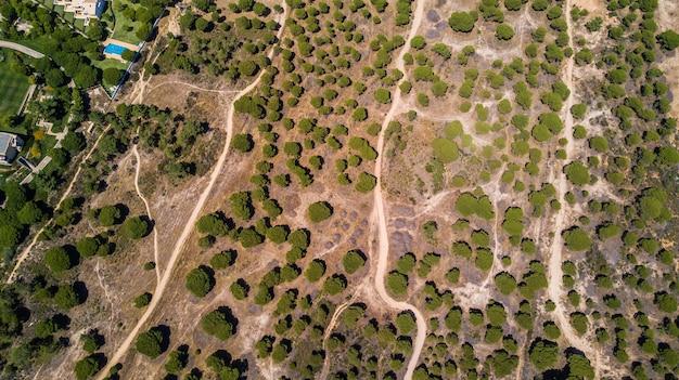 Widok z lotu ptaka na wybrzeże miejscowości algarve, portugalia. koncepcja powyższej plaży portugalii. letnie wakacje