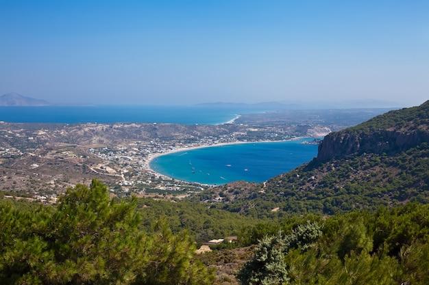 Widok z lotu ptaka na wyspę kos, grecja