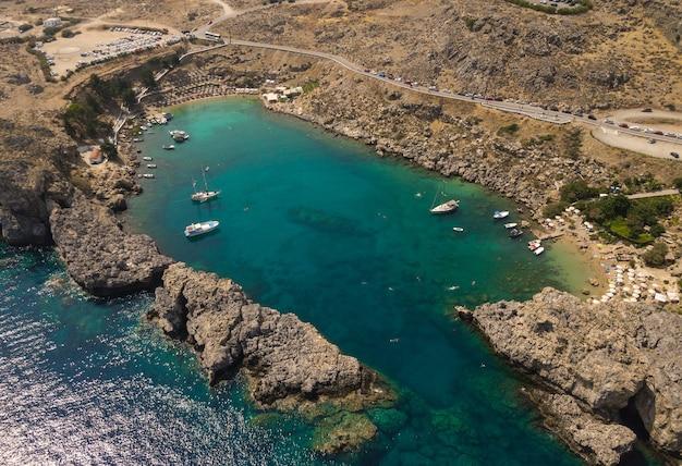 Widok z lotu ptaka na zatokę świętego pawła na wyspie rodos