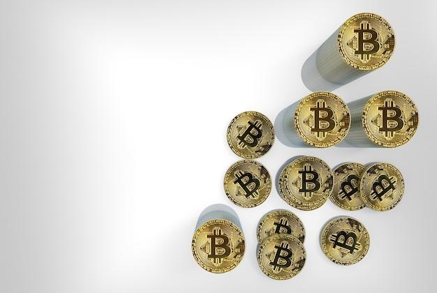 Widok z lotu ptaka na złote stosy bitcoinów do oszczędzania cryptocurrency