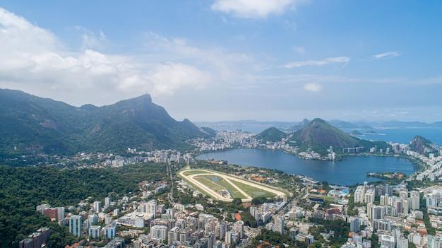 Widok z lotu ptaka nad torem wyścigowym rio de janeiro brazylia