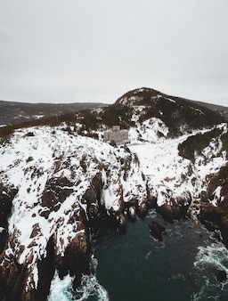 Widok z lotu ptaka natura w zimie