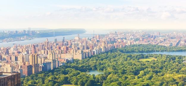 Widok z lotu ptaka new york central park, manhattan, usa