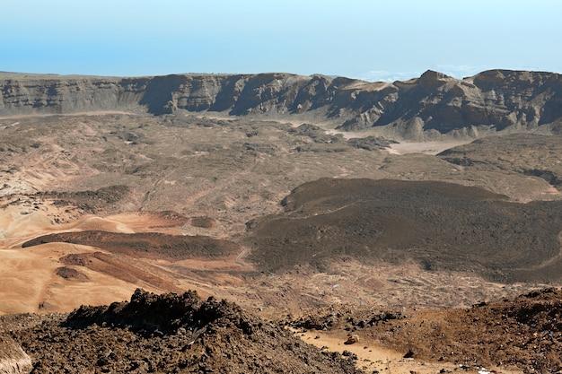 Widok z lotu ptaka od szczytu wulkanu teide w teneryfie park narodowy.