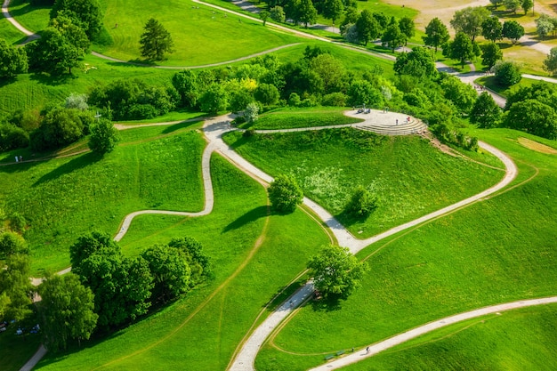 Widok z lotu ptaka olympiapark monachium, bawaria, niemcy