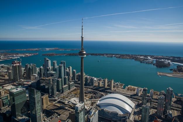 Widok z lotu ptaka panoramę toronto w kanadzie