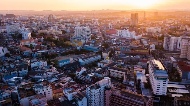 Widok z lotu ptaka pattaya, tajlandia