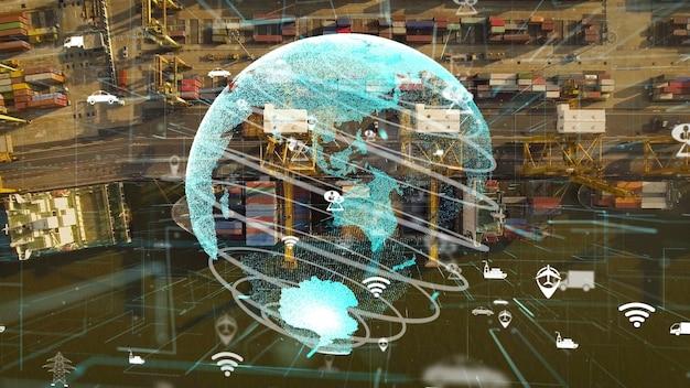 Widok z lotu ptaka portu morskiego z grafiką przedstawiającą modernizację technologii sieci
