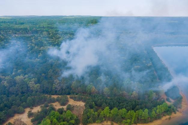 Widok z lotu ptaka pożaru lasu w wiosennym pożarze w drzewach suchej trawy w lesie.