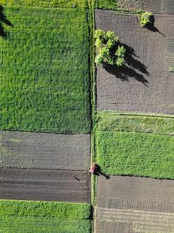 Widok z lotu ptaka prace rolnicze w polu, traktor w polu.
