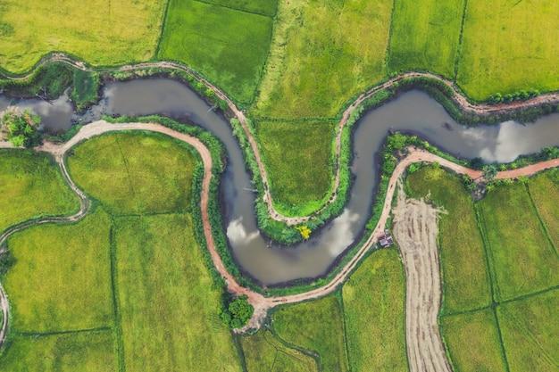 Widok z lotu ptaka przebiegłej rzeki na polach