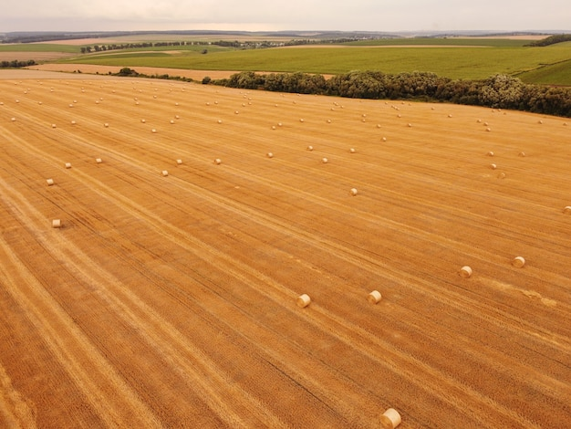 Widok z lotu ptaka pszenne rolki słomy w polu